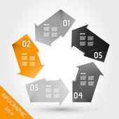 Vijf oranje infographic pijlen in pentagon — Stockvector