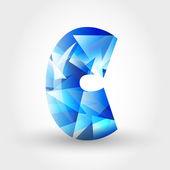 Niebieski krystaliczny literę c — Wektor stockowy