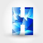 Blue crystalline letter H — Stock Vector