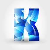 Carta cristalino azul k — Vector de stock
