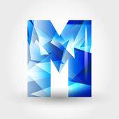 Blue crystalline letter M — Stock Vector