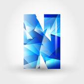 Blue crystalline letter N — Stock Vector