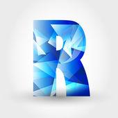 Blue crystalline letter R — Stock Vector