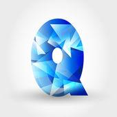 Blue crystalline letter Q — Stock Vector