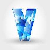 Blauwe kristallijne letter v — Stockvector
