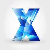 Blue crystalline letter X — Stock Vector