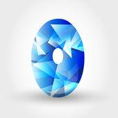 Niebieski krystaliczny numer 0 — Wektor stockowy