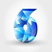 Blue crystalline number 6 — Stock Vector