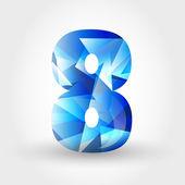 Niebieski krystaliczny numer 8 — Wektor stockowy
