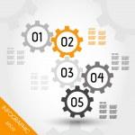 Five orange infographic gears — Stock Vector #27306043