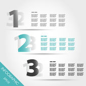 Turquoise three number infographic options — Stock Vector