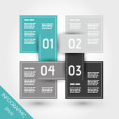 Turquoise infographic four linked squares — Stock Vector
