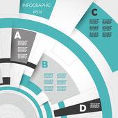 Tyrkysové abstraktní technické infographic kroužky — Stock vektor