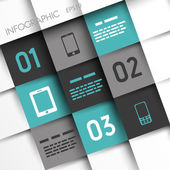 Turquoise and grey infographic squares with mobile icons — Stock Vector