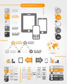Orange mobile phone world infographics — Vector de stock
