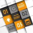 Stock Vector: Orange and grey infographic squares with time icons