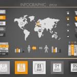 Orange dark world square infographic — Stock Vector #27969535