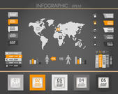 Orange dark world square infographic — Vecteur