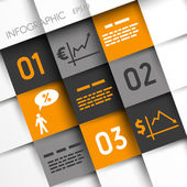 Orange and grey infographic squares with economical icons — Stock Vector