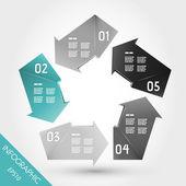 Vijf turquoise infographic pijlen in pentagon — Stockvector