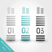 Three turquoise striped infpgraphic columns — Stock Vector