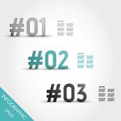Trois numéros d'infographique rayé turquoise avec le signe dièse — Vecteur