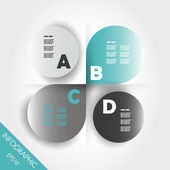Turquoise infographic four rounded elements — Stockvector
