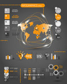 Dark orange world infographics with electricity — Stock Vector