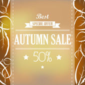 Autumn sale with ribbon and leaves — Stock Vector