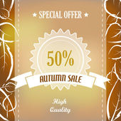 Autumn sale with quality ribbon and leaves — Stock Vector
