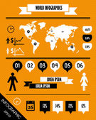 Orange striped world retro infographics with man and woman — Vecteur