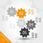 Cinq vitesses infographique complet orange — Vecteur