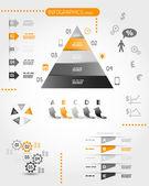 Big orange pyramid infographic set — Stock Vector
