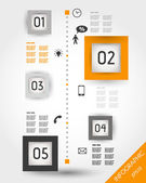 Orange timeline with squares and icons — Stock Vector