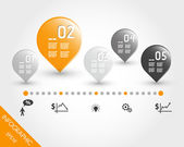 Orange timeline with buttons and icons — Stock Vector