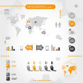 Square orange infographics with icons — Vector de stock