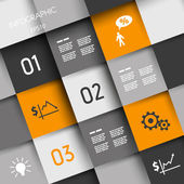 Orange and grey squares with business icons — Stock Vector
