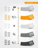Orange timeline with stickers — Stock Vector