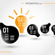 Stock Vector: Five orange infographic bulbs