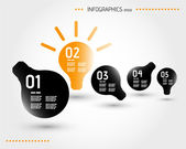 Five orange infographic bulbs — Vecteur