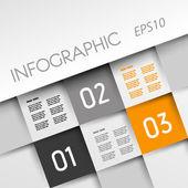 Orange infographic square with three options — Stock Vector
