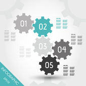 Five turquoise full infographic gears — Vecteur
