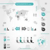 Quadratische Türkis Infografiken mit Symbolen — Stockvektor