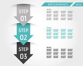 Three turquoise infographic arrows — Stock Vector