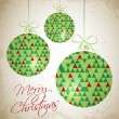 Merry Christmas card with three triangular balls — Stok Vektör