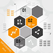 Orange infographic hexagons with axis — Vecteur