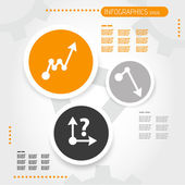 Orange circle infographic template with business icons — Vecteur