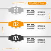 Arancia tre esagoni infografica — Vettoriale Stock