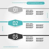 Turquoise three infographic hexagons — Stock Vector