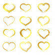 Stock Vector: Golden hearts